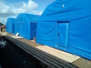 Пневмокаркасные модули. Мобильные надувные жилые модули в условиях эксплуатации лагеря временного базирования.