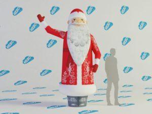 Надувной Дед Мороз с машущей рукой, фигура с машущей рукой, надувная фигура с машущей рукой, дед мороз зазывала, надувной зазывала, новогодняя фигура зазывала, Новогодние надувные фигуры