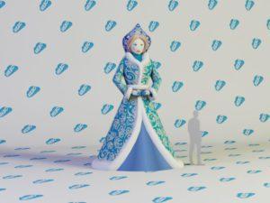 Надувная Снегурочка, Надувная Снегурочка Премиум, Новогодняя фигура снегурочка, надувная снегурочка и дед мороз, надувная снегурочка девушка, Новогодние надувные фигуры