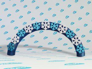 Новогодняя надувная арка со снежинками, новогодняя надувная арка, надувная полукруглая арка, надувная полукруглая арка старт финиш,