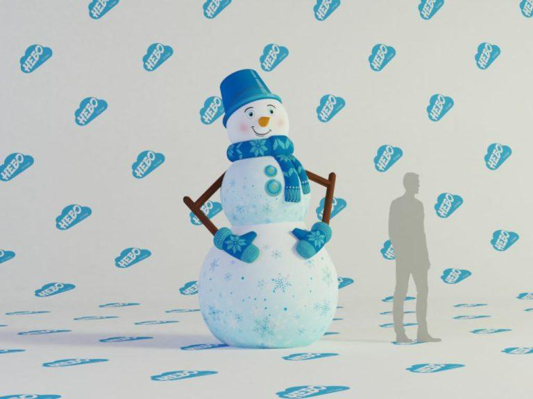Надувной снеговик, Надувная фигура Снеговик, новогодняя надувная фигура, , надувной снеговик для улицы, inflatable snowman,