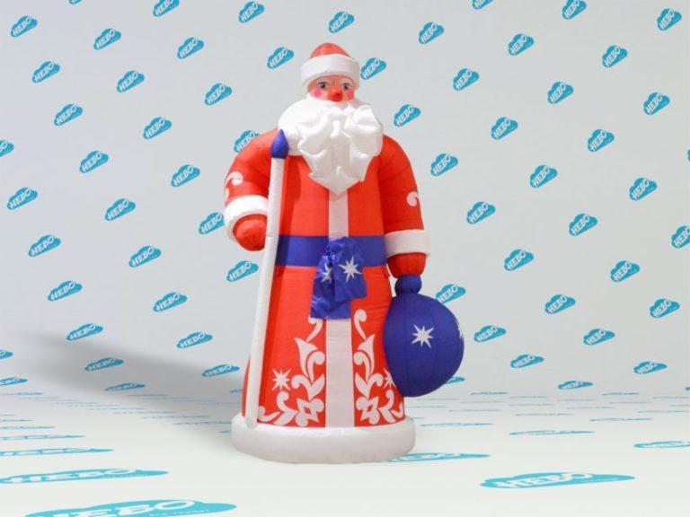 Надувной дед мороз, надувная фигура деда мороза, Новогодняя фигура Дед Мороз, надувная голова деда мороза, новогодний надувной декор, Дед Мороз, надувная рекламная фигура