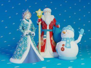 Комплект надувных фигур Дед Мороз, Снегурочка, Снеговик (Премиум)