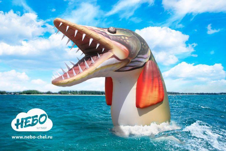 Надувная щука, надувная рыба, надувная рекламная фигура, масленица, по щучьему велению