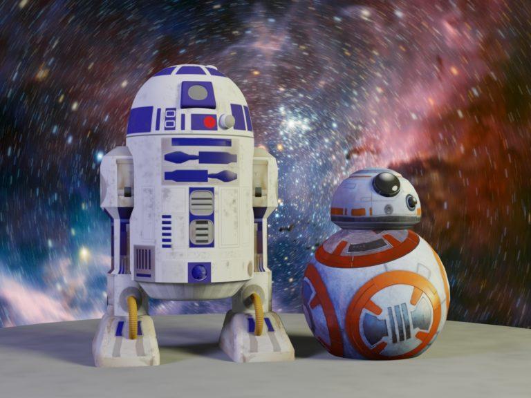 Комплект фигур Дроиды R2-D2 и BB-8, надувные фигуры star wars, надувные фигуры звездные войны