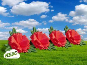 Надувная гирлянда Гвоздики, гвоздики, пневмогирлянад, надувные цветы, 9 мая, декорации на День Победы