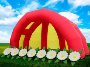 Надувная сцена с цветами – комплект, надувная сцена, надувная гирлянда с цветами, гирлянда с эффектом раскрытия, надувная сцена паук, весенняя капель, оформление сцены на выпускной, компания небо