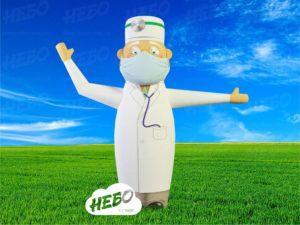 Надувной доктор – эскиз фигуры с машущей рукой