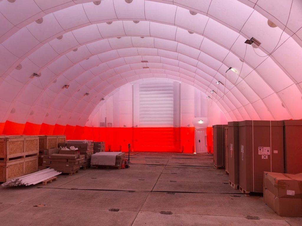 Пневмокаркасный склад, Надувной ангар на стройплощадке, инфекционная больница в новой москве,
