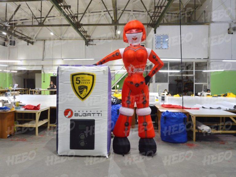 Надувная девушка робот, надувная фигура, надувная реклама, зазывала, рукомах, аэрофигура