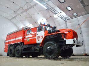 Пневмокаркасный надувной ангар для пожарной техники, вид внутри