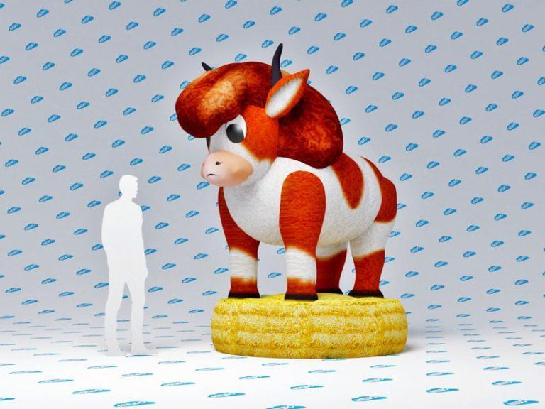 Бык надувной, надувная фигура, надувная аэрофигура бык, надувной бык символ года, символ года 2021, надувной бычок, бычок надувной