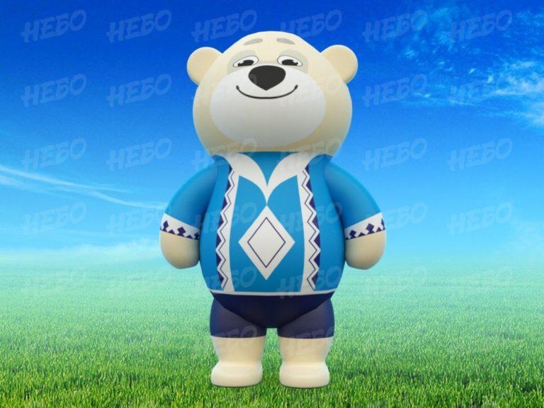 Надувной костюм медведь, пневмокостюм медведь, промокостюм медвель, костюм медведь для аниматора