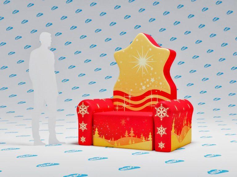 Надувной сказочный трон Деда Мороза, надувная фигура трон деда маороза