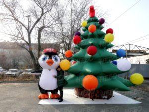 Новогодний надувной костюм пингвин