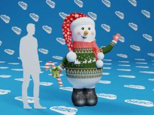 Снеговик надувной с машущей рукой, снеговик зазывала, снеговик рукомах,, надувная фигура, новогодние декорации, снеговик