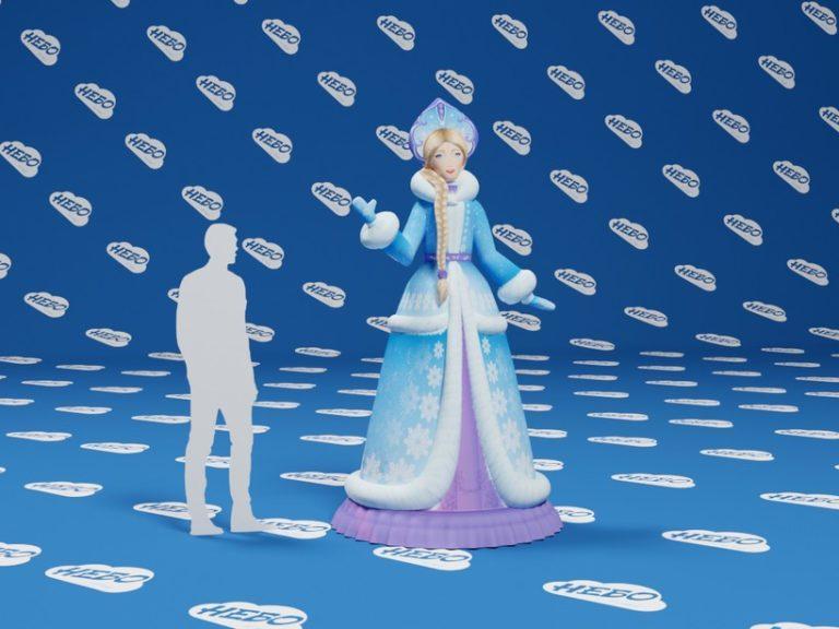 Снегурочка надувная, надувная фигура снегурочка, надувная снегурочка, аэроснегурочка,