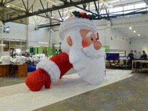 Надувная голова Деда Мороза вид сбоку