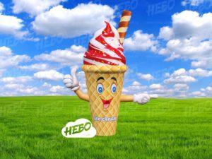 мороженое зазывала с машущей рукой