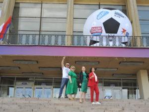 Надувной футбольный мяч для рекламы