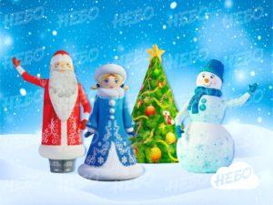 Надувные Дед Мороз, Снеговик, Елк