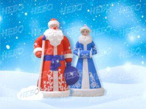 Надувные Дед Мороз, Снегурочка, классика, комплект