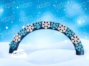 Новогодняя надувная арка со снежинками